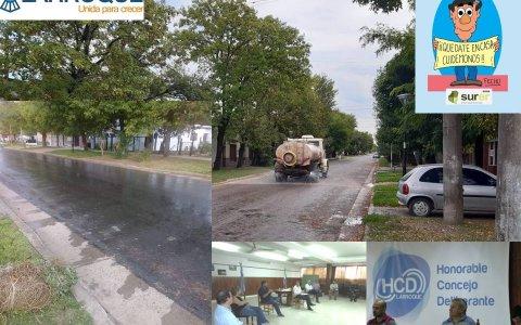 En  Larroque,  el municipio implementó el riego con lavandina en calles donde transitan vehículos que ingresan de otros lugares.