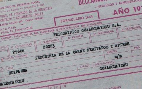 Fondo documental frigorífico gualeguaychú para la certificación de haberes a ex trabajadores