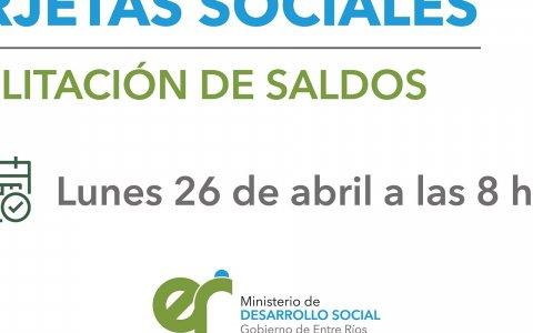 El lunes se acreditarán las tarjetas sociales